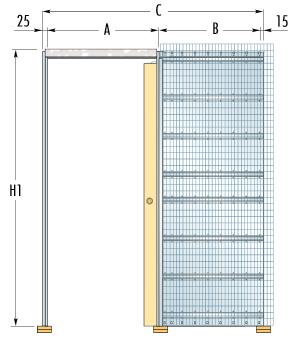 Stavební pouzdro ECLISSE pro jednokřídlé dveře - Do zdiva - 60cm - 10,8cm