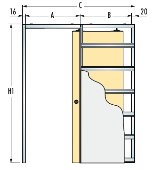 Stavební pouzdro ECLISSE pro jednokřídlé dveře - SDK - 100cm - 10,0 - 12,5cm